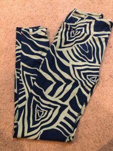 Lularoe OS One Size Blue Green Swirl Aztec Geometric Zebra Stripes NWOT