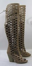 "Skintone 4""High Block Heel Open Toe Sexy Summer Gladiator over Knee Boots Size 8"