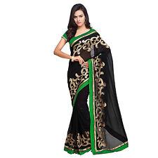 Indian Party Wear Bollywood Designer Black Faux Chiffon Zari Embroidered Sari