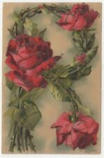 C. Klein, Flowers, Alphabet Series, Letter R Art Postcard, B912