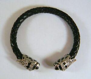 Matthew Campbell Laurenza Sterling Silver Enamel Woven Leather Cuff Bracelet 7 ½