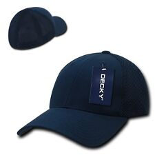 Navy Blue Flex Low Crown Cotton Mesh 6 Panel Baseball Golf Fit Fitted Hat Cap