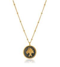 Satya Jewelry Gold Gunmetal Tone Tree of Life Disc Pendant Necklace 0712