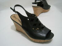 FRANCO SARTO CAIT Women's 10M Black Leather Slingback Wedge Open Toe Sandals