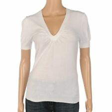 7631bc3478 HIRSCH Top White Short Sleeved Stretch Knit Size 36 UK 10 LA 23