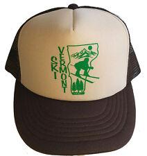 Ski Vermont Brown Tan Snapback Mesh Trucker Hat Cap