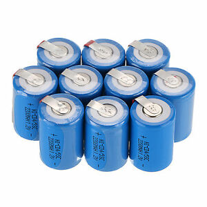 10pcs Blue 4/5 Sub C SC 1.2V 2200mAh Ni-Cd Rechargeable Battery With Tap