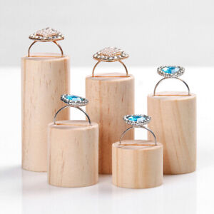 5Pcs Ring Cone Wood Jewelry Display Ring Stand Storage Organiser Holder Tray TP