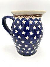"Boleslawiec Polish Pottery Jug Pitcher Star Pattern 6"" High MINT"