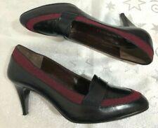BRUNO MAGLI designer black leather red herringbone material court shoes UK 4/37