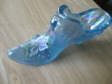 FENTON IRIDESCENT BLUE GLASS SHOE HAND PAINTED IRIS SIGNED T. NEADER EXCELLENT