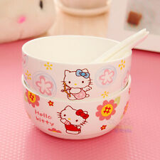Cute 4pcs Hello Kitty Rice Soup Bowl Kitchen Die-Cut Ceramic Bowl c/w 4 spoons