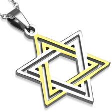 Zense - Pendentif pour homme étoile de David argenté et doré ZP0196