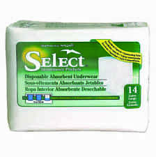 """Select Disposable Absorbent Underwear Size X-Large (48""""-66"""") Pack of 14 - #2607"""
