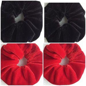 2 LARGE BLACK & 2 LARGE RED VELVETY ELASTIC HAIRBOBBLE HAIR SCRUNCHIES