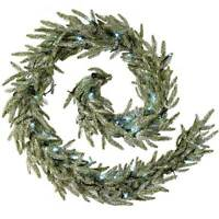 9ft Frosted Pre-Lit Fir Garland Christmas Decoration with 40 White LED Lights