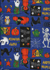 New Happy Halloween Spooky Patch on Purple 100% cotton fabric by the Fat Quarter