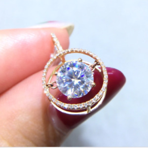3Ct Round Cut White Moissanite Antique Dancing Halo Pendant In 14K Rose Gold