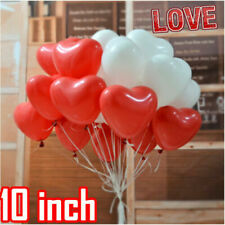 10 - 500 Red & White Heart Shape Balloons Helium Birthday Wedding proposal balon