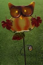 "Garden Lawn Yard Decoration Bird Owl metal & glass pick stake NEW 24"" tall A"