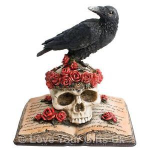 Heartaches Reflection 17cm High Raven Skull Edgar Allan Poe Poem Gothic Emo Book