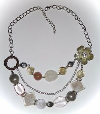 THREE STRAND NECKLACE w/VARIETY OF STONES, BEADS & CHAINS