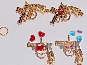 1pc Little Gold pl GUN locket charm necklace opens pendant crystal heart bullet