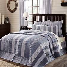 CAPE COD Queen Quilt Blue Chambray Stripe Nautical Cottage Rustic Cotton Ocean