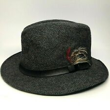 Stetson Mens Gray w/ Blue Wool Hat w/ Feather & Black Leather Band Size Medium