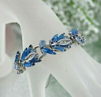 Vintage Juliana Capri Blue and Royal Blue Rhinestone Prong Set Silver Bracelet