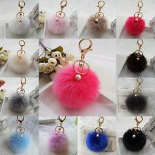 Cute New Faux Rabbit Fur Fluffy Pom pom Ball Bag Car Pendant Charm Key Keyring