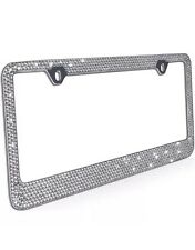 Metal License Plate Frame Bling RhineStones Chrome Swarovski Crystal Diamond -A