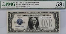 More details for 1928 a $1 silver certificate ia block pmg 58 epq 1601 bill funny back us note