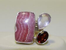 GENUINE! 7.30tcw Rhodochrosite, Rose Quartz & Garnet Ring Sterling Silver 925