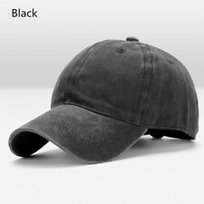 Black Men Cotton Washed Blank Solid Casual Adjustable Baseball Cap Snapback Hat