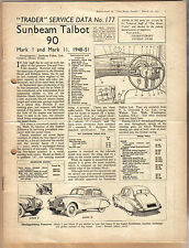 Sunbeam Talbot 90 Mk I & II 1948-51 Motor Trader Service Data No. 177 1951