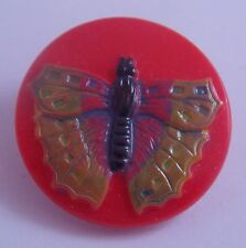 """CZECH GLASS BUTTON -  Butterfly Orange Hand-Painted Yellow Lacy Wings 23 mm-7/8"""""""