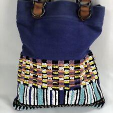 Anthropologie Jasper  Jeera Beaded Blue Canvas Tall Shoulder Tote Bag Purse