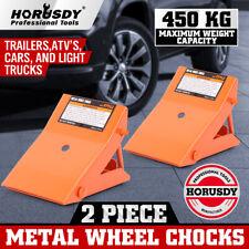 2 Pack Metal Wheel Chocks Trailer Camper Tire Stopper Rv Car Block Heavy Duty