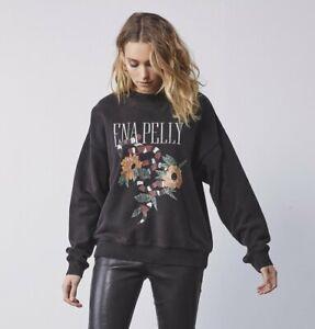 Ena Pelly Womens Python Bloom Sweatshirt Terry Cotton Oversized Jumper Top SZ 8
