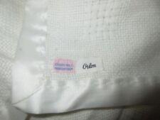 VTG Churchill Handwoven Orlon White Blanket Lovey Christening Satin Trim Acrylic
