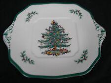 "SPODE CHRISTMAS TREE SERVING TRAY PLATTER SQUARE W/ HANDLES 9 5/8"" x 11.5"""