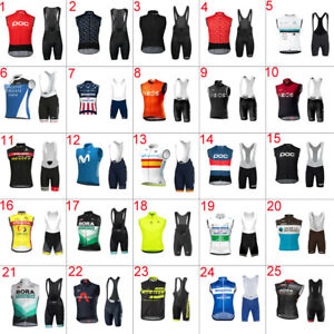 2021 Mens Team Cycling Vest Cycling Sleeveless Jersey And Bib Shorts Set