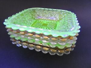 6 Crown Crystal Depression Glass Amber Clear & Uranium Green Shallow SIDE BOWLS