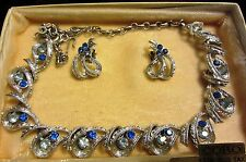 GORGEOUS VINTAGE CORO BLUE RHINESTONE  NECKLACE AND MATCHING EARRINGS - BOX