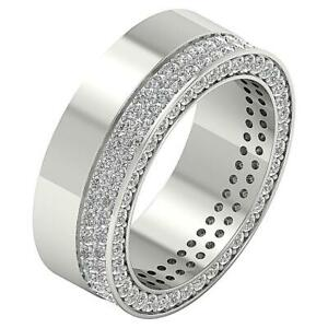 Men Eternity Ring Anniversary Band I1 G 2.25 Ct Natural Round Diamond 14K Gold