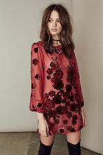 Vintage Boho Chiffon floral printed sheer loose long sleeve summer mini dress