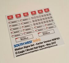 N Scale South West Trains (SWT) Station Signs Set - Earlier 'Swoosh' Version