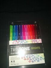 Tombow TWINTONE Dual-Tip Markers BRIGHTS 61500 Set of 12 pc NEW! 0.3mm 0.8mm