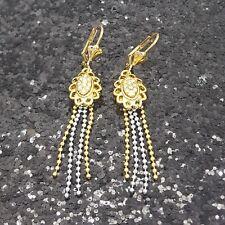 18K Gold Filled Stylish Italian Two Tone Diamond 18ct GF Dangle Earrings 6cm